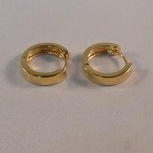 Jewelry - 24K Yellow Gold Smooth Hoop Earrings GF 15mm